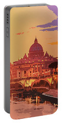 Sunset On Rome The Eternal City Portable Battery Charger
