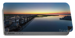 Sunset On The Boardwalk At Grays Beach Cape Cod Portable Battery Charger