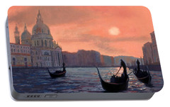 Portable Battery Charger featuring the painting Sunset On The Grand Canal In Venice by Janet King