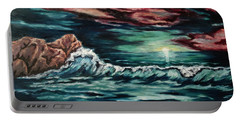 Portable Battery Charger featuring the painting Sunset On The Horizon by Cheryl Pettigrew