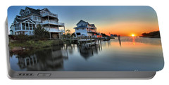 Sunset On The Obx Sound Portable Battery Charger by Adam Jewell