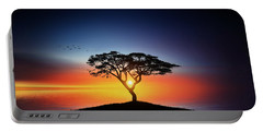 Sunset On The Tree Portable Battery Charger by Bess Hamiti