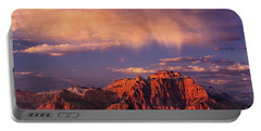 Sunset On West Temple Zion National Park Portable Battery Charger by Dave Welling