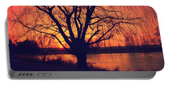 Sunset On Willow Pond Portable Battery Charger
