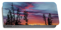 Sunset Over A Farmers Field, Cowboy Trail, Alberta, Canada Portable Battery Charger