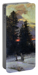 Sunset Over A Winter Landscape Portable Battery Charger