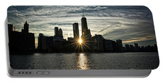 Sunset Over Chicago Skyline And Lake Michigan Portable Battery Charger