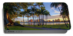 Sunset Over Downtown West Palm Beach From Palm Beach Island Portable Battery Charger by Justin Kelefas