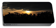 Sunset Over Farm And Trees - Silhouette View  Portable Battery Charger