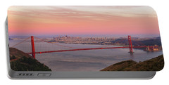 Sunset Over Golden Gate Bridge And San Francisco Skyline Portable Battery Charger