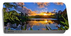 Sunset Over Hidden Lake In Jupiter Florida Portable Battery Charger