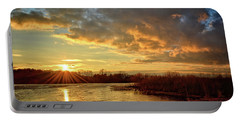 Sunset Over Marsh Portable Battery Charger by Bonfire Photography