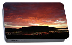 Portable Battery Charger featuring the painting Sunset Over Mormon Lake by Dennis Ciscel