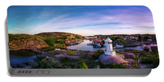 Sunset Over Old Fishing Port - Aerial Photography Portable Battery Charger