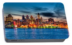 Sunset Over Philadelphia Portable Battery Charger by Louis Dallara