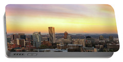 Sunset Over Portland Cityscape And Mt Hood Portable Battery Charger