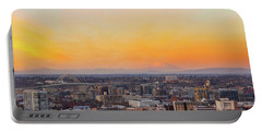 Sunset Over Portland Cityscape And Mt Saint Helens Portable Battery Charger