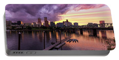 Sunset Over Portland Oregon Downtown Waterfront Portable Battery Charger