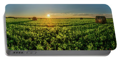 Portable Battery Charger featuring the photograph Sunset Over Prince Edward Island Clover by Chris Bordeleau