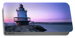 Sunset Over Spring Breakwater Lighthouse In South Maine Portable Battery Charger