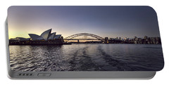 Sunset Over Sydney Harbor Bridge And Sydney Opera House Portable Battery Charger by Douglas Barnard
