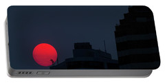 Sunset Over The City Of Portland Oregon Portable Battery Charger