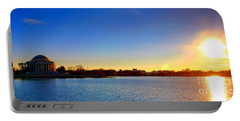 Sunset Over The Jefferson Memorial  Portable Battery Charger