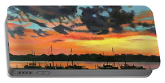 Sunset Over The Marina Portable Battery Charger