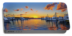 Sunset Over The Sailfish Marina In Riviera Beach Florida Portable Battery Charger