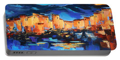 Portable Battery Charger featuring the painting Sunset Over The Village 2 By Elise Palmigiani by Elise Palmigiani