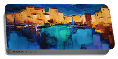 Portable Battery Charger featuring the painting Sunset Over The Village 3 By Elise Palmigiani by Elise Palmigiani