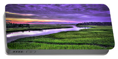 Sunset Over Turners Creek Savannah Tybee Island Ga Portable Battery Charger