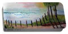 Portable Battery Charger featuring the painting Sunset Overlook by Sandy McIntire