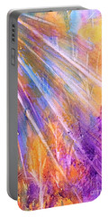 Portable Battery Charger featuring the painting Sunset Rays Through The Forest by Ellen Levinson