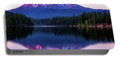Portable Battery Charger featuring the photograph Sunset Reflection On Lake Siskiyou Of Mount Shasta by John Hight