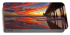 Sunset Reflections At The Imperial Beach Pier Portable Battery Charger