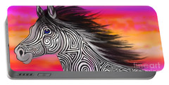 Portable Battery Charger featuring the painting Sunset Ride Tribal Horse by Nick Gustafson