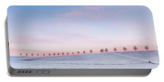 Sunset Sky And Trees Blue And Pink Portable Battery Charger