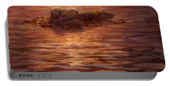 Sea Otters Floating With Kelp At Sunset - Coastal Decor - Ocean Theme - Beach Art Portable Battery Charger