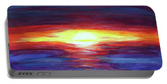 Portable Battery Charger featuring the painting Sunset by Sonya Nancy Capling-Bacle