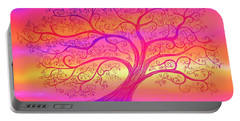 Portable Battery Charger featuring the painting Sunset Tree Cats by Nick Gustafson