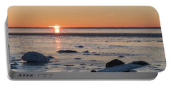 Portable Battery Charger featuring the photograph Sunset View By An Icy Coast by Kennerth and Birgitta Kullman