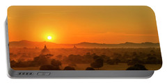 Sunset View Of Bagan Pagoda Portable Battery Charger