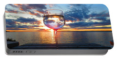June Sunset On The River Portable Battery Charger