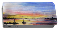 Sunset Watercolor Downtown Kirkland Portable Battery Charger