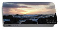 Portable Battery Charger featuring the photograph Sunset Waves, Asilomar Beach, Pacific Grove, California #30431 by John Bald