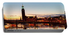 Sunset With Cityhall Of Stockholm Portable Battery Charger by Anastasy Yarmolovich