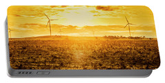 Sunsets And Golden Turbines Portable Battery Charger