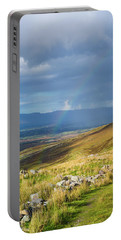 Sunshine And Raining Down With Rainbow On The Countryside In Ire Portable Battery Charger by Semmick Photo