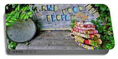 Portable Battery Charger featuring the painting Sunshine Bench by Joan Reese